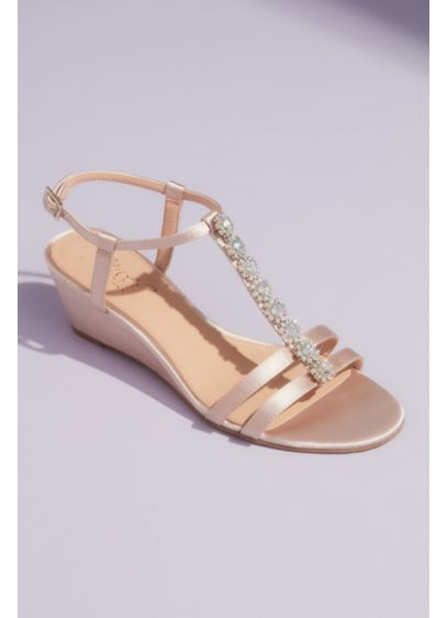 Jewel Badgley Mischka Ivory (T-Strap Satin Wedge Sandals with Crystal Florets)