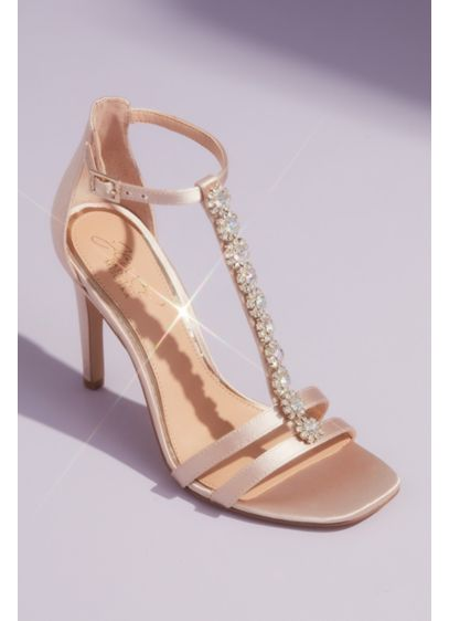 Jewel Badgley Mischka Ivory (T-Strap Satin Heeled Sandals with Crystal Florets)