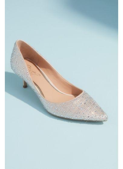 Jewel Badgley Mischka Ivory (Allover Crystal Almond Toe Kitten Heels)