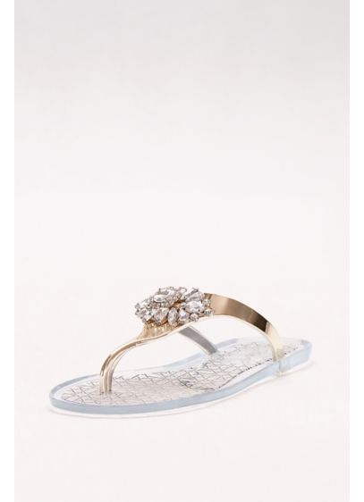 Jewel Badgley Mischka Yellow (Crystal-Embellished Jelly Flip Flops)