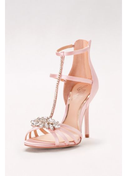 Jewel Badgley Mischka Pink (Strappy Satin T-Strap Heels with Crystals)