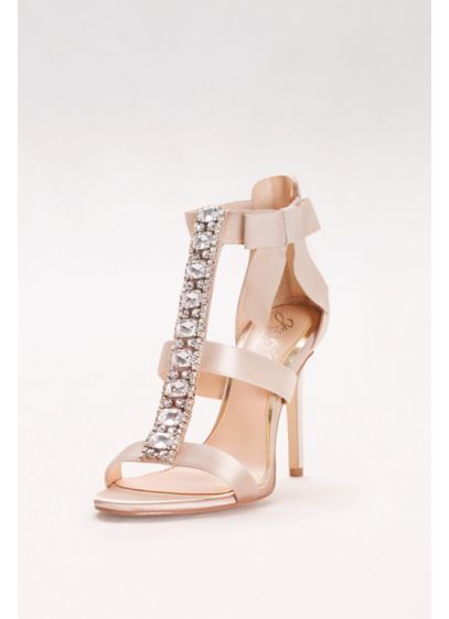 Jewel Badgley Mischka Ivory (Embellished T-Strap Heels with Grosgrain Bow)