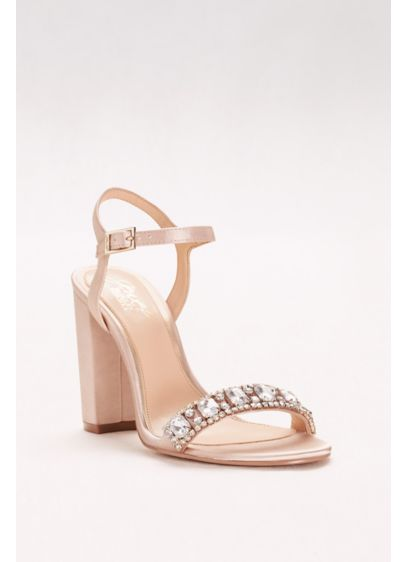 Block Heel Sandal With Embellished Strap David S Bridal