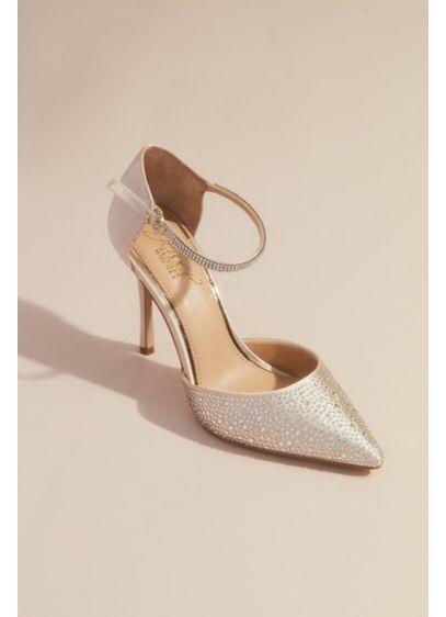Jewel Badgley Mischka Ivory (Satin Dorsay Heels with Pointed Crystal Toe)