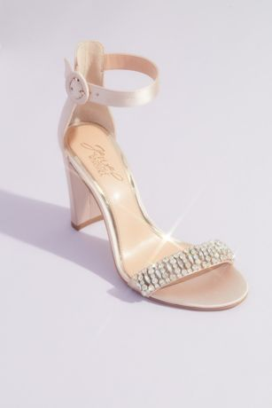 Jewel Badgley Mischka Ivory Heeled Sandals (Gem-Encrusted Satin Block Heels with Ankle Strap)