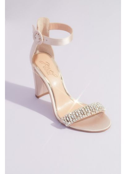 Jewel Badgley Mischka Ivory (Gem-Encrusted Satin Block Heels with Ankle Strap)