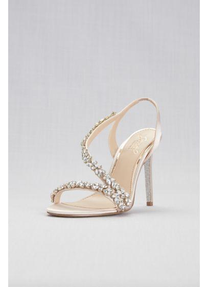 Jewel Badgley Mischka Ivory (Jeweled Satin Slingback Heels)