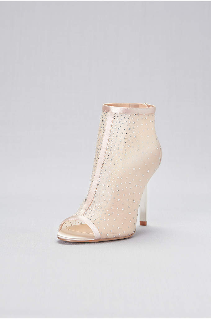 Crystal-Detailed Mesh Peep-Toe Booties - Add a little edge to your big-night look