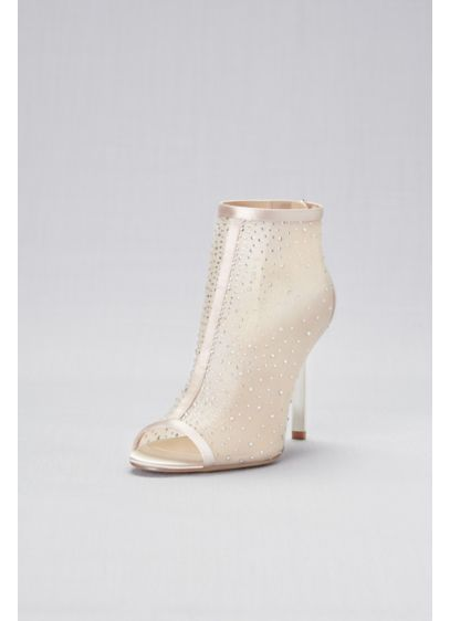 Jewel Badgley Mischka Ivory (Crystal-Detailed Mesh Peep-Toe Booties)