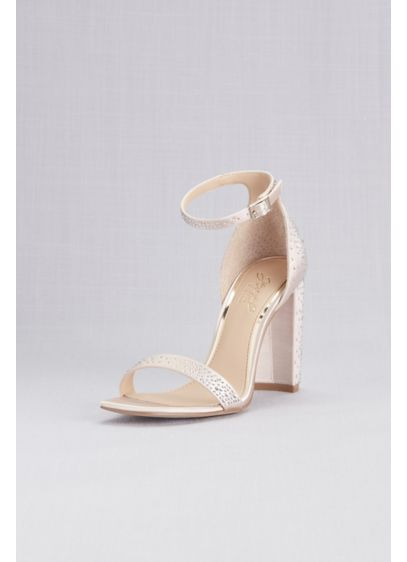 Satin Crystal Ankle Strap Sandals with Block Heel - Elevate your look with these stunning block heeled