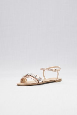 Jewel Badgley Mischka Pink Flat Sandals (Single-Strap Cut-Out Flat Sandals)
