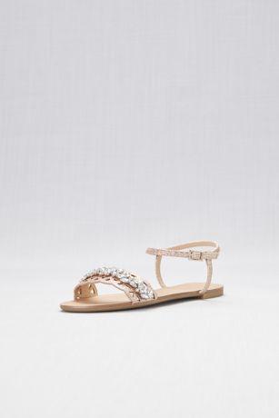 65417640d86ac4 Jewel Badgley Mischka Pink Flat Sandals (Single-Strap Cut-Out Flat Sandals)
