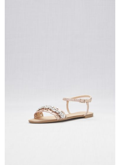 Jewel Badgley Mischka Pink (Single-Strap Cut-Out Flat Sandals)