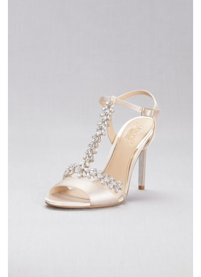 Jewel Badgley Mischka Ivory (Jeweled T-Strap Satin Ankle-Strap Heels)