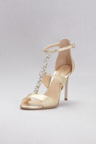 Jewel Badgley Mischka Yellow Heeled Sandals (Jeweled T-Strap Metallic Ankle-Strap Heels)