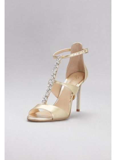 Jewel Badgley Mischka Yellow (Jeweled T-Strap Metallic Ankle-Strap Heels)
