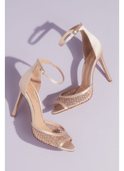Illusion Peep Toe Satin Ankle Strap Sandals - An illusion mesh vamp, dotted with sparkling crystals,