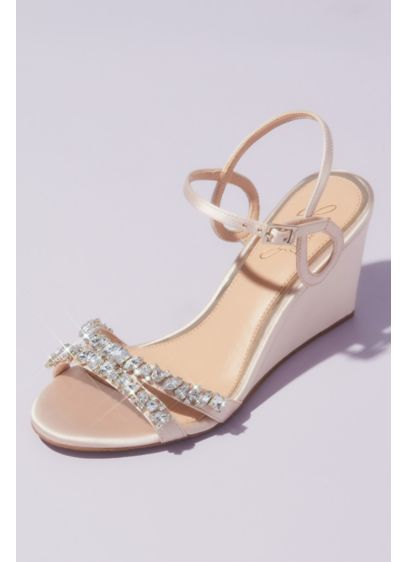 Jewel Badgley Mischka Ivory (Satin Loop Strap Crystal-Embellished Wedge Sandals)
