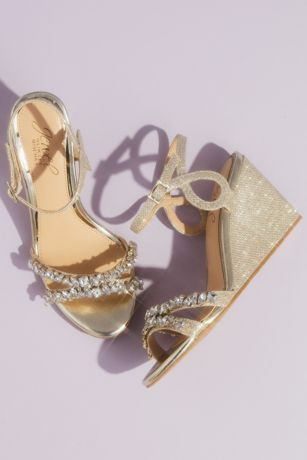 Jewel Badgley Mischka Ivory;Yellow Wedges (Satin Loop Strap Crystal-Embellished Wedge Sandals)