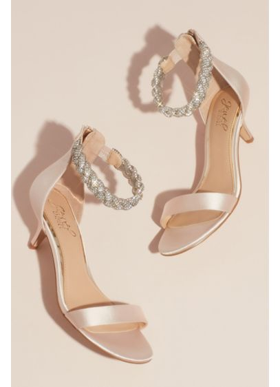 Satin Low Heel Sandals with Crystal Braided Ankle - A thick braid formed from twisting strands of