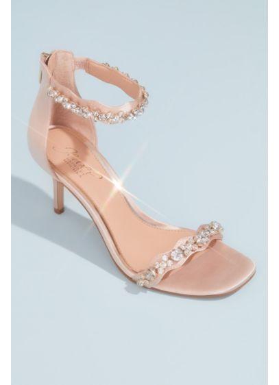 Jewel Badgley Mischka Ivory (Satin Stiletto Sandals with Crystal Ankle Straps)