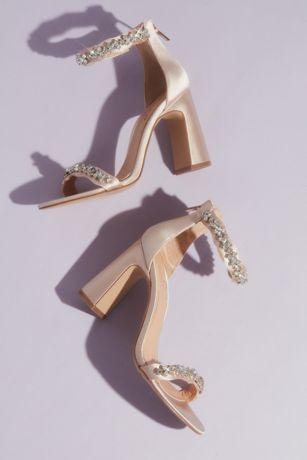 Jewel Badgley Mischka Ivory Heeled Sandals (Satin and Crystal Block Heels with Zip Back)