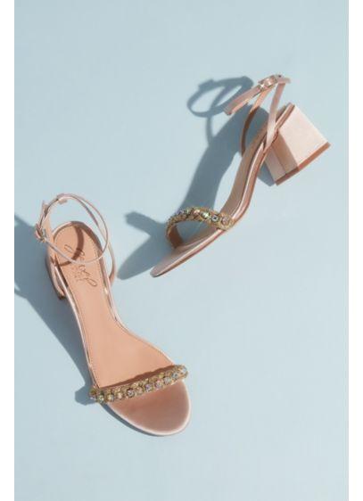 Jewel Badgley Mischka Ivory (Satin and Crystal Low Block Heel Sandals)