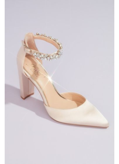 Jewel Badgley Mischka Ivory (Pointed Toe Block Heels with Crystal Ankle Strap)
