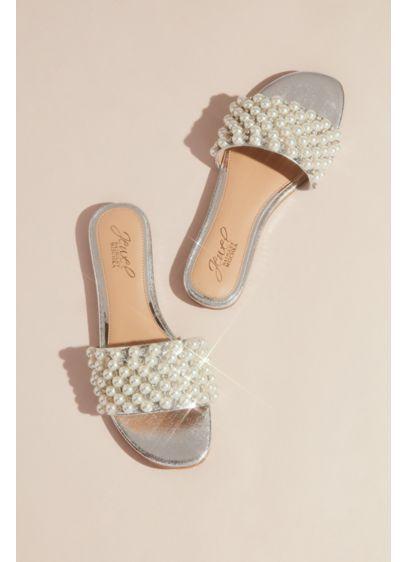 Jewel Badgley Mischka Grey (Crystal and Pearl Wide-Strap Slide Sandals)