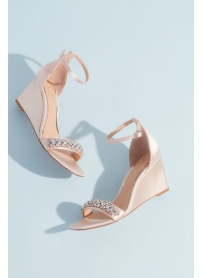 Elegant Satin Wedges with Crystal Accent - A supportive (but still super chic) wedge heel