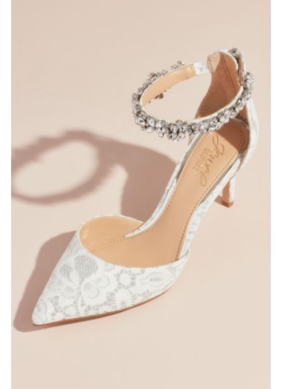 Lace d'Orsay Heels with Crystal Ankle Strap - The chic and sexy d'Orsay silhouette gets a