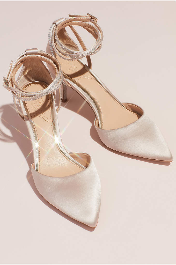 Satin d Orsay Heels with Crystal Ankle Wrap Strap
