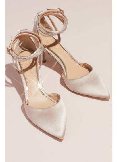 Jewel Badgley Mischka Ivory (Satin d'Orsay Heels with Crystal Ankle Wrap Strap)