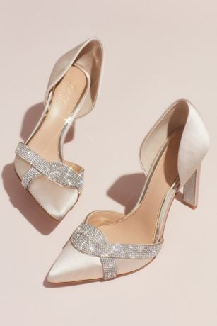 "Jewel Badgley Mischka Ivory Pumps (Satin d""Orsay Heels with Infinity Crystal Loop)"
