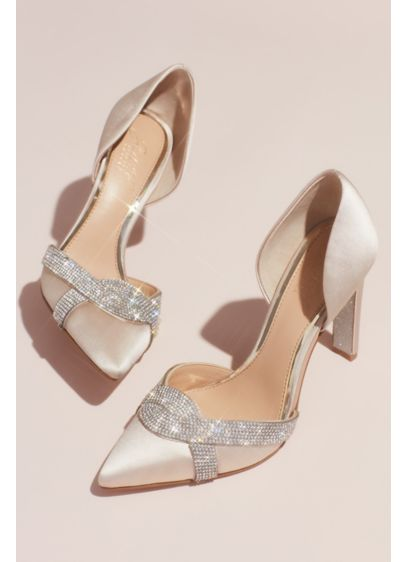 Jewel Badgley Mischka Ivory (Satin d'Orsay Heels with Infinity Crystal Loop)