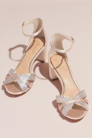 Jewel Badgley Mischka Ivory Heeled Sandals (Crystal Embellished Strap Satin Block Heel Sandals)