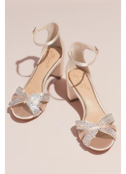 Jewel Badgley Mischka Ivory (Crystal Embellished Strap Satin Block Heel Sandals)