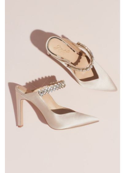 Satin Pointed Toe Heeled Mules with Crystal Strap - The trend-right mule shape gets a dramatic, formal