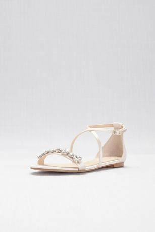 Jewel Badgley Mischka Ivory Flat Sandals (Satin and Crystal Cross-Strap Flat Sandals)