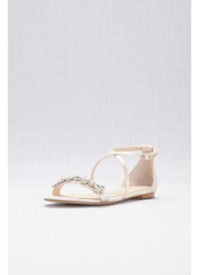 Jewel Badgley Mischka Ivory (Satin and Crystal Cross-Strap Flat Sandals)