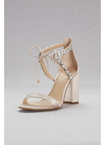 Jewel Badgley Mischka Grey (Ankle-Tie Block Crystal-Embellished Heel Sandals)