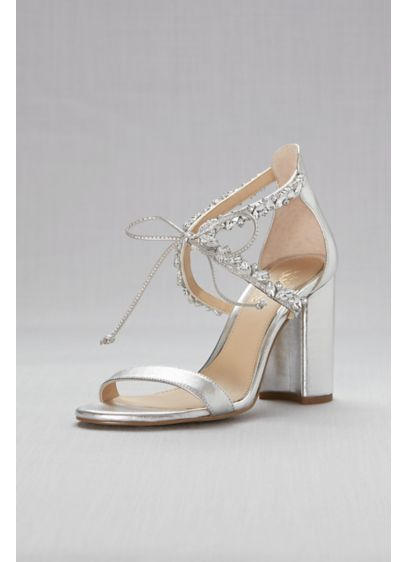 Jewel Badgley Mischka Grey (Ankle-Tie Block Crystal-Embellished Heel Sandals)