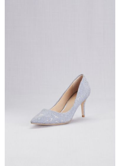 Jewel Badgley Mischka Pink (Lace Overlay Metallic Pointed Toe Pumps)