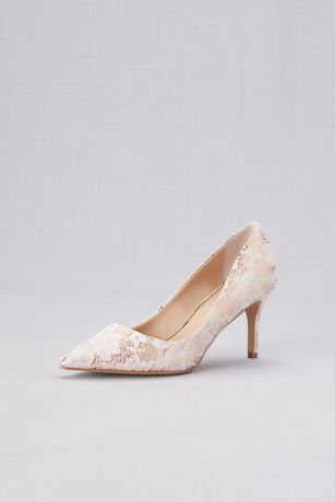 Jewel Badgley Mischka Blue;Pink Pumps (Lace Overlay Metallic Pointed Toe Pumps)
