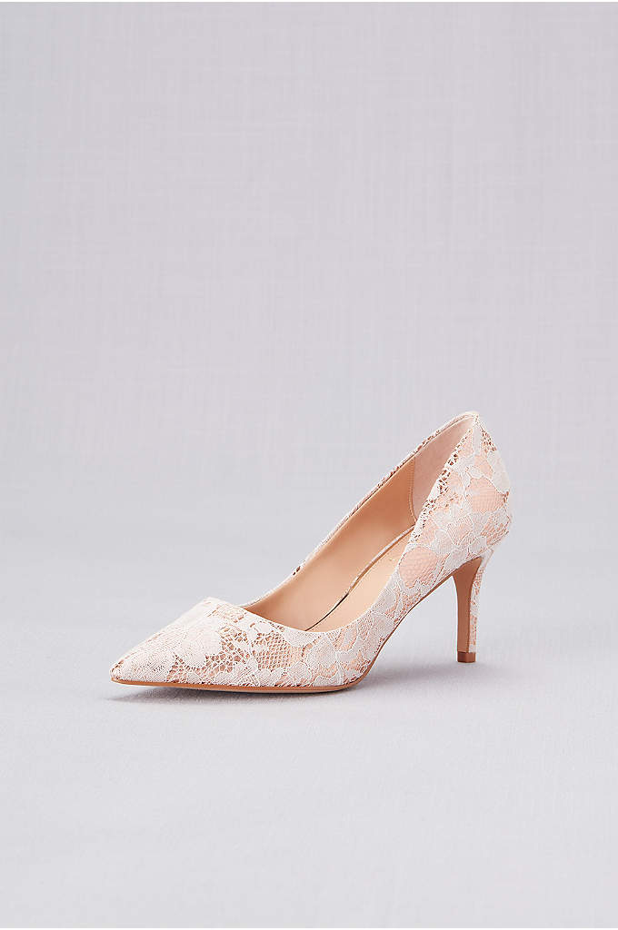 Lace Overlay Metallic Pointed Toe Pumps