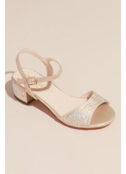 Blossom Ivory (Girls Crystal Block Heel Ankle Strap Sandals)