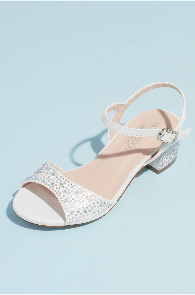 Girls Crystal Block Heel Ankle Strap Sandals