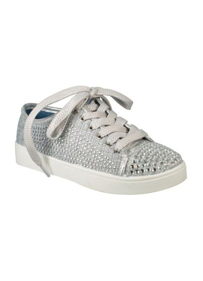 Blossom Grey (Girls Crystal Cap-Toe Sneakers)