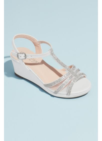 Girls Crystal T-Strap Illusion Mesh Wedge Sandals - These wedges are a perfect way for the