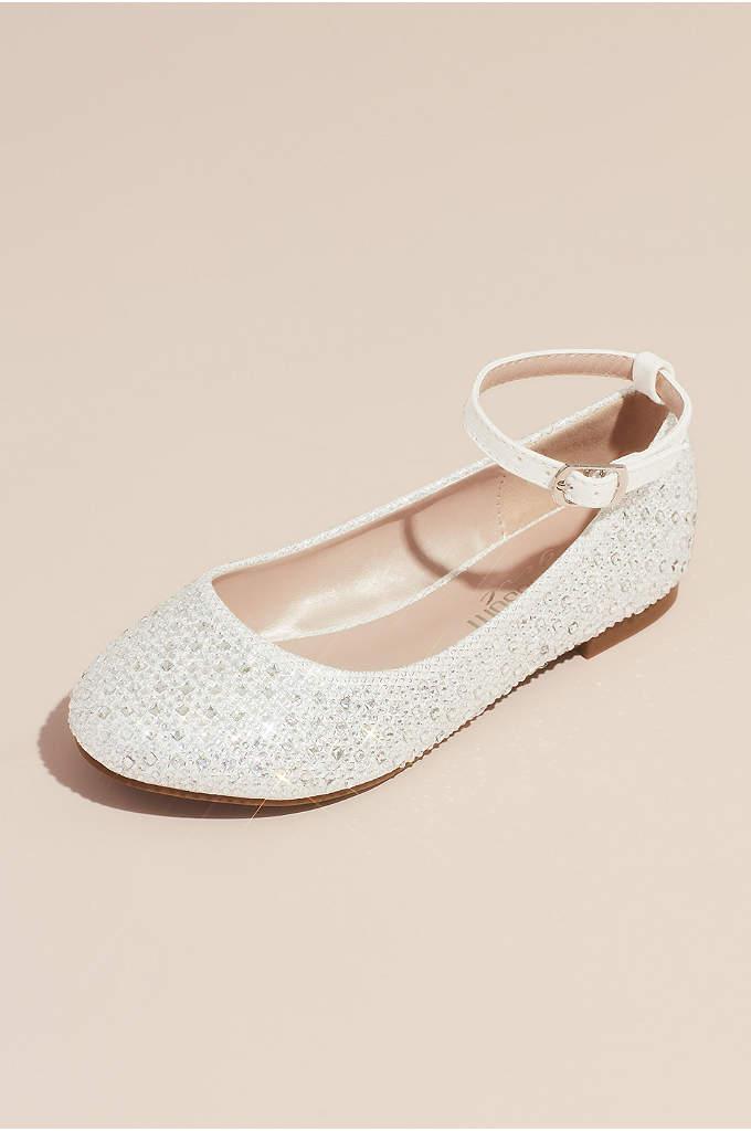 Girls Glitter Ankle Strap Embellished Ballet Flats